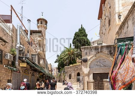 Jerusalem, Israel, June 13, 2020 : Via Dolorosa Near The Third And The Fourth Stations Of The Way Of