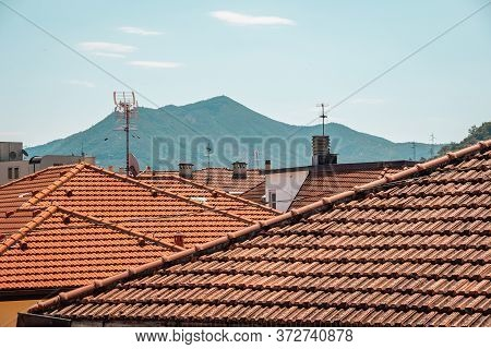 Panoramic, Aerial View Of Resort Town Sestri Levante, Italy. Architecture With Tiled Orange Roofs