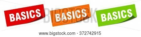 Basics Sticker. Basics Square Isolated Sign. Basics Label