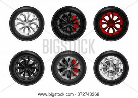 Car Wheels Set. Tire Shop, Tyres Change Auto Service. Isolated. White Background.