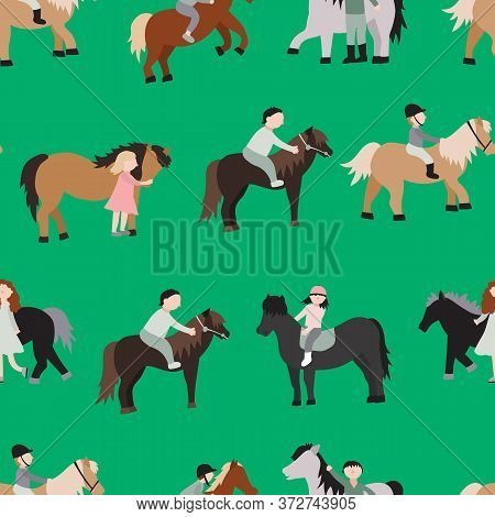 Cartoon Characters Kids Riding Ponies Seamless Pattern Background Recreation Activity Or Training Co