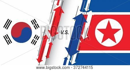 Conflict And Tension Between South Korea And North Korea On The Border. North And South Korean Flags