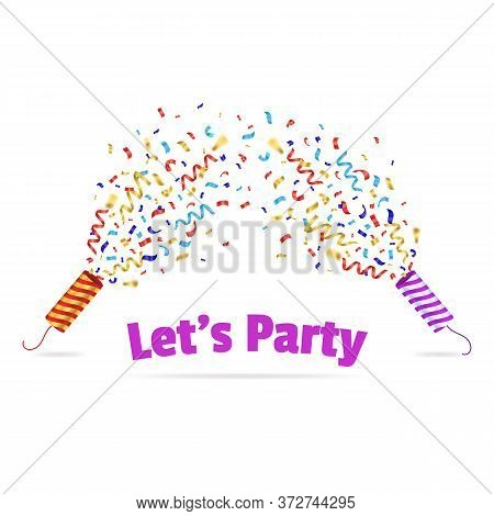 Realistic 3d Detailed Striped Cracker Party Card Symbol Of Celebration. Vector Illustration Of Poppe