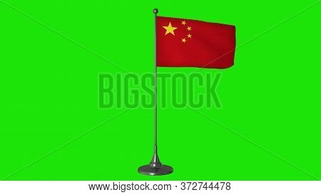 China Small Flag Fluttering On A Flagpole. Green Screen Background. 3d Rendering