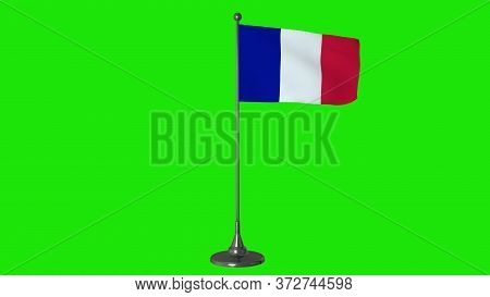 France Small Flag Fluttering On A Flagpole. Green Screen Background. 3d Rendering