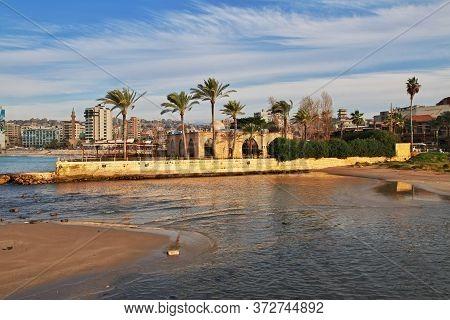 Sidon, Lebanon - 03 Jan 2018. The View On Sidon ( Sayda ), Lebanon