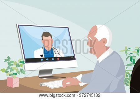 Senior Asian Man Staying At Home Consulting A Doctor Through Video Call