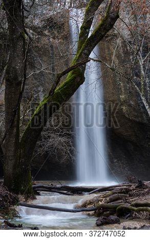 Waterfall Visor In Crimea In Winter, Waterfall, Beautiful Waterfall Visor In The Baydar Valley Of Cr