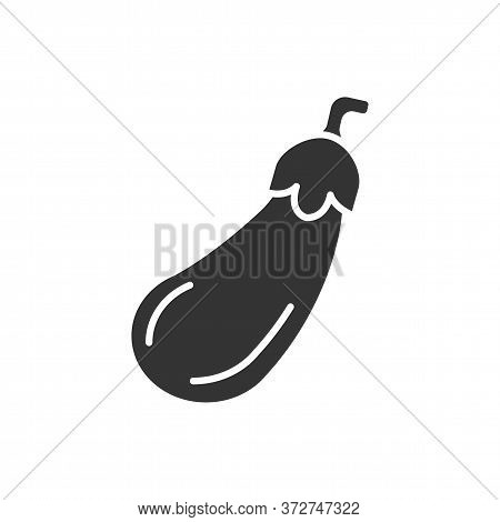 Eggplant Black Glyph Icon. Aubergine. Agriculture Plant. Salad Ingredient. Natural Vegetable. Health