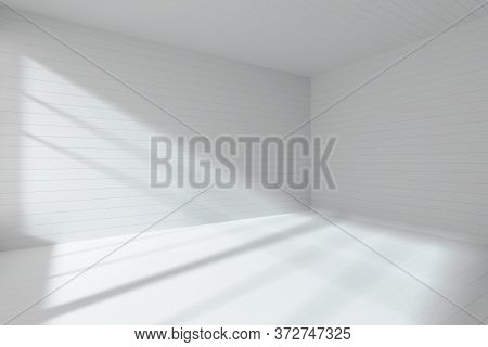 Abstract Architecture White Room Interior - Empty White Room Made With Flat Horizontal White Planks
