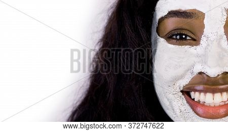 Cropped Close Up Portrait Of Pretty Smiling African Girl With Antiaging Lifting Mask Applied On Her