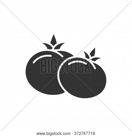 Tomatoes Black Glyph Icon. Red Tomato Sign. Natural Vegetable Concept. Healthy, Organic Food. Cookin