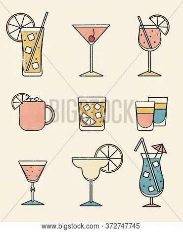 Collection Set Of Icons Various Alcohol Cocktail Glasses High Ball Martini Margarita Old Fashioned S