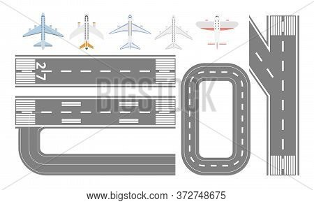 Airport Runway Track And Airplane Types Set - Isolated Flat Collection