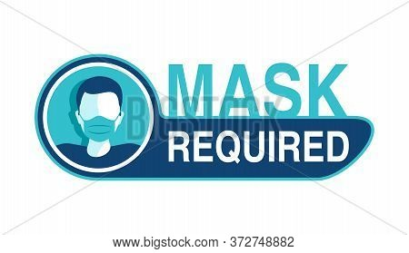 Mask Required Warning Prevention Sign - Human Profile Silhouette With Face Mask In Creative Rounded