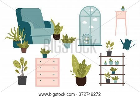 Urban Jungle Interior Design Set - Domestic Garden Elements In Cartoon Style