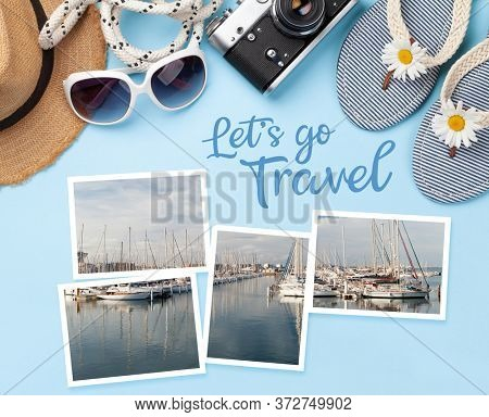 Let's go travel concept card. Summer vacation items, accessories and holiday photos. Flip flops, sunglasses and sun hat on blue background. Top view flat lay