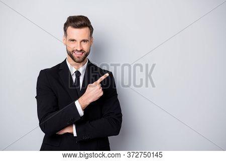 Portrait Of Smart Confident Man Entrepreneur Company Owner Point Index Finger Suggest Select Promo A
