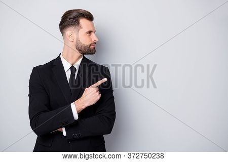 Profile Side Photo Of Smart Confident Man Company Owner Point Index Finger Copyspace Direct Way Ads