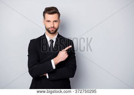 Portrait Of Confident Success Man Lawyer Point Index Finger Copy Space Present Promo Wear Formalwear