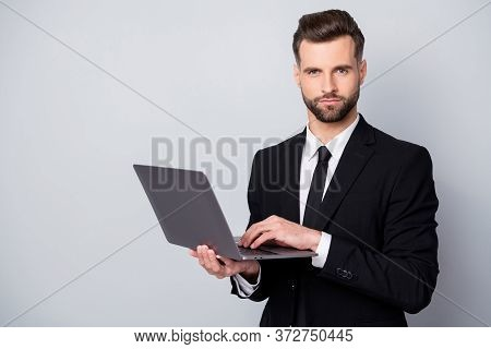 Portrait Of Confident Successful Entrepreneur Man Use Laptop Work On Start-up Project Chat With Clie