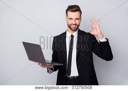 Portrait Of Confident Smart Entrepreneur Man Hold Computer Work Project Approve Show Okay Sign Wear