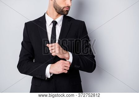 Cropped Profile Side Photo Of Handsome Man Worker Prepare For Business Meeting Adjust Button Sleeves