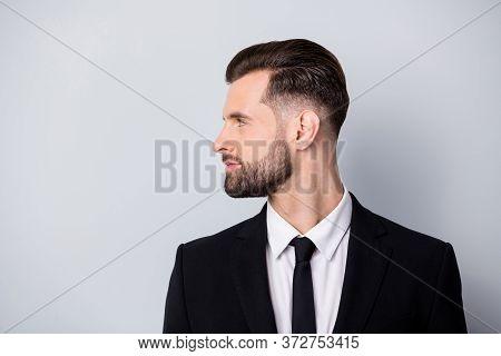 Profile Side Photo Of Strict Masculine Entrepreneur Look Copyspace Listen To His Employee Wear Forma