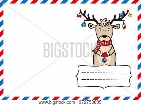 New Year's Postcard. New Year Greeting Card Template For Sending. Christmas Decor. Vector Illustrati