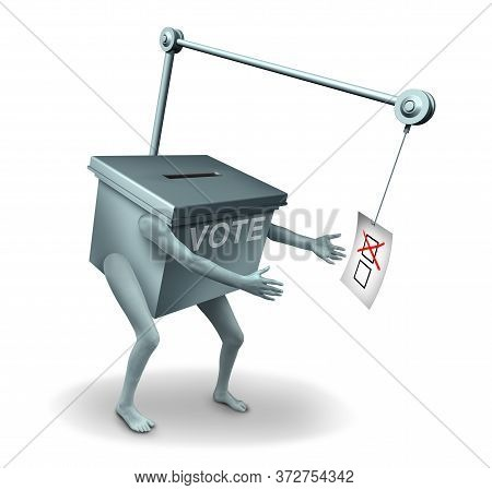 Searching For Votes And Election Or Campaigning For Ballots As A Voting Box Chasing A Voter Ballot R