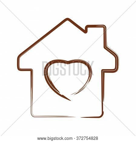 Vector Heart Symbol On House Silhouette Background. Vector Illustration Isolated On White