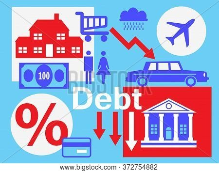 A Couple Surrounded By The Debt They Have Accumulated And Finance Symbols Surrounding Them. A Metaph