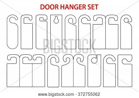 Hanger Set Die Cut Template. Blank Sign Shablon For Door. Vector Black Isolated Circuit Hotel Hanger