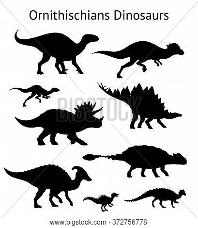 Silhouettes Of Ornithischian Dinosaurs. Set. Side View. Monochrome Vector Illustration Of Black Silh