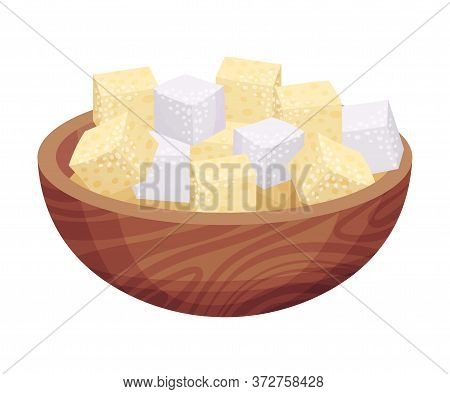 White Sugar Cubes Rested In Wooden Bowl As Sweetener For Tea And Coffee Vector Illustration