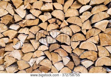 Woodpile Of Freshly Cut Wood Close Up
