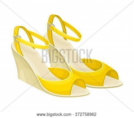 Open Toe Shoes Or Peep-toes On High Platform As Summer Women Clothing Vector Illustration