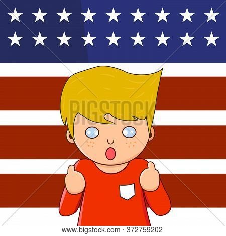 White Caucasian Charactor Standing With Thumb Up Infront Of Usa Flag.