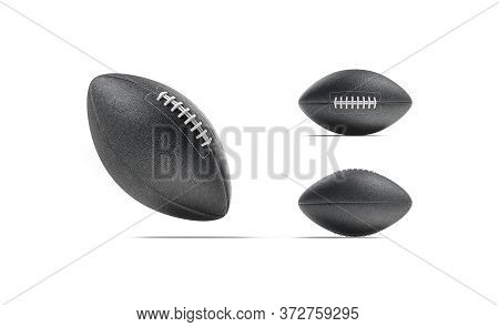 Blank Black American Soccer Ball Mockup, Different Views, 3d Rendering. Empty National Usa Touchdown