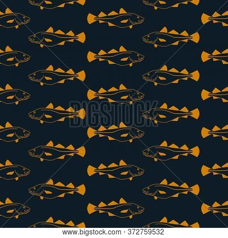 Cod Fish Swimming Horizontal Repeated Pattern In Gold And Navy Blue Background. Vector Seamless Patt