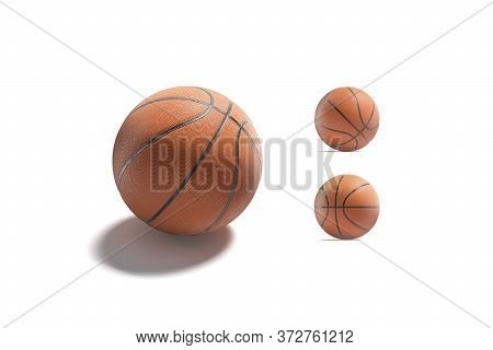 Blank Rubber Basketball Ball Mock Up, Different Sides, 3d Rendering. Empty Professional Textured Bas