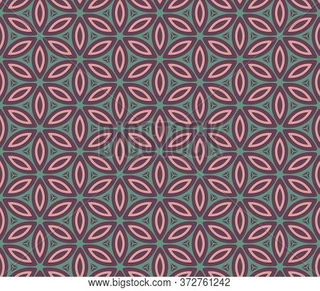 Retro Vintage Chinese Traditional Pattern Seamless Background Round Ucrve Cross Flower Geometry Kale