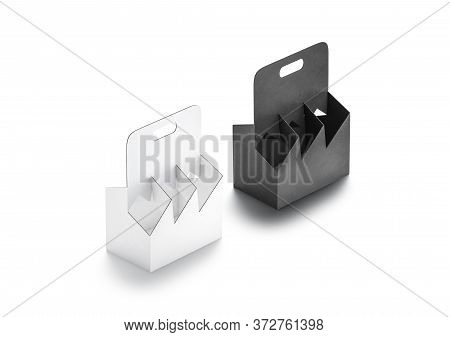 Blank Black And White Cardboard Bottle Holder Mockup Set, Side View, 3d Rendering. Empty Disposable