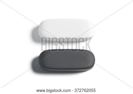 Blank Black And White Closed Glasses Case Mockup Set, Isolated, 3d Rendering. Empty Horizontal Optic