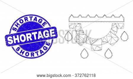 Web Mesh Water Gear Drops Pictogram And Shortage Stamp. Blue Vector Round Scratched Seal Stamp With