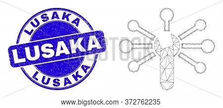 Web Carcass Wrench Links Pictogram And Lusaka Seal Stamp. Blue Vector Rounded Distress Seal Stamp Wi