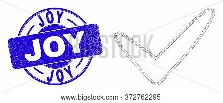 Web Carcass Yes Tick Icon And Joy Seal Stamp. Blue Vector Rounded Distress Seal With Joy Message. Ab