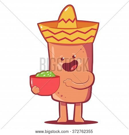 Cute Burrito Vector Cartoon Character Isolated On A White Background.