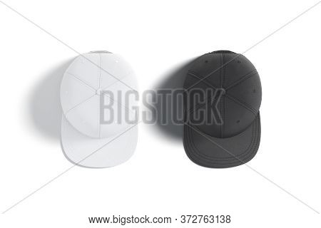 Blank Black And White Jeans Snapback Mockup Set, Top View, 3d Rendering. Empty Fashion Head-dress Wi