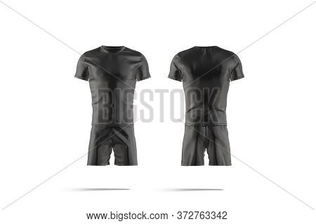 Blank Black Soccer Uniform T-shirt And Short Mockup, Front Back, 3d Rendering. Empty Football Team S